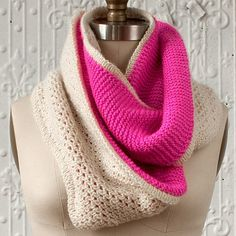 NobleKnits.com - Manos Silk Blend Florido Infinity Scarf Knitting Pattern, $6.95  Double knit- solid one side, lace on other, so color shows through. Lovely.