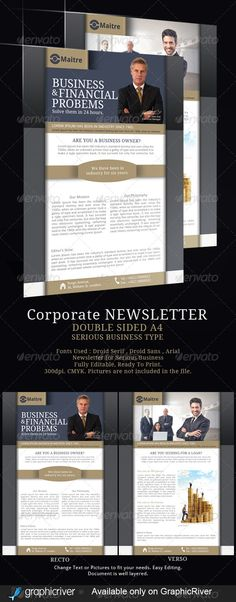 Business Bank Newsletter Design Template By Stocklayouts
