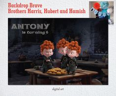 Brave Family Merida Brothers Disney Backdrop by BolleBluParty
