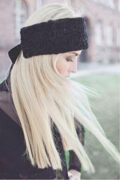 black fur headband, ear warmer, schwarzes Stirnband, Ohrenwärmer aus Fell, Pelz, schwarz