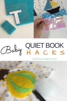 Tips for making little quiet book for babies, filled with sensory activities. These hacks will help you make DIY baby quiet book with sewing supplies and items you already have at home, instead of buying new supplies. Click to check it out.