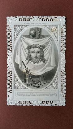 * OLD HOLY CARD LACE VEIL  ST VERONIQUE FACE JESUS CHRIST