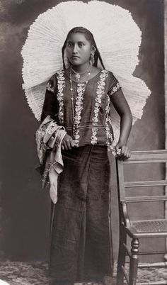Tehuana woman wearing a Huipil - circa 1905 Note: Huipils and lace headdresses are of Spanish influence, Mexico.
