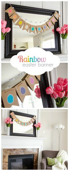 Simple Easter Mantel with Rainbow Easter Egg Banner || love the tulips in the white vases!