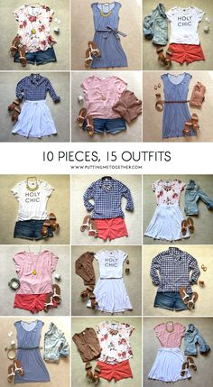 10 Pieces 15 Outfits – Summer Packing 2015 – Putting Me Together – travel outfit summer Travel Outfit Summer, Summer Outfits, Casual Outfits, Cute Outfits, Comfy Travel Outfit, Summer Travel, Summer Clothes, Summer Beach, Travel Wardrobe