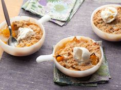 Vanilla ice cream was just made for this peach crisp. Be sure to serve it warm.