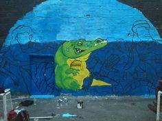 Proceso mural dia de la capa de ozono para el area metropolitana de medellin #cocodrilo #graffiti #spraypaint