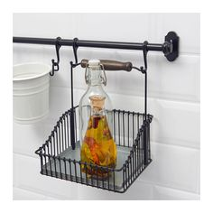 FINTORP Wire basket with handle, black