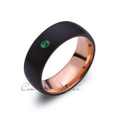8mm,Mens,Green Emerald,Black Brushed,Rose Gold,Tungsten Ring,Birthstone,Wedding Band