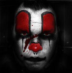 pierced clown with blood