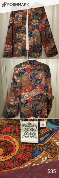 Parsley & Sage Colorful Paisley Jacket Parsley & Sage Colorful Paisley Jacket Great pre-loved condition! 100% Cotton with 100% Polyester lining Size Extra Large Parsley & Sage Jackets & Coats Blazers