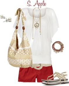 """""""Red Shorts"""" by sapple324 ❤ liked on Polyvore"""