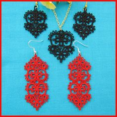 Tatted earrings  pendant by Murphy's Designs