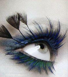 Dramatic Green and blue eyelashes by Shu Uemura