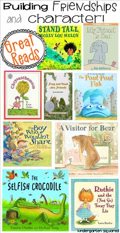 Great books to build character and friendships! Kindergarten Books, Preschool Books, Book Activities, Preschool Bulletin, Sequencing Activities, Social Emotional Learning, Social Skills, Emotional Books, Friendship Theme