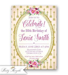 60th Birthday Invitation Any Age Cheers To 60 Years Rustic Wood Gold Glitter Confetti Printable Customized Polka Dots In 2018