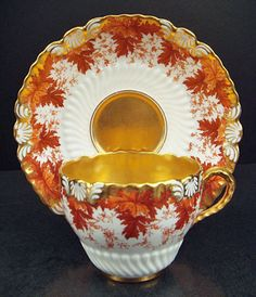 Antique porcelain cup and saucer set by Coalport, England Tea Cup Set, My Cup Of Tea, Tea Cup Saucer, Tea Sets, Teapots And Cups, Teacups, Antique Tea Cups, Cuppa Tea, China Tea Cups