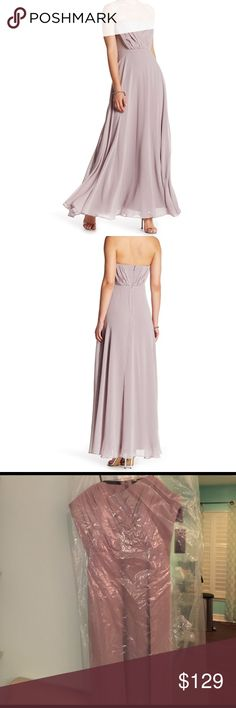 🎉🎉HP🎉🎉Beautiful Vera Wang Chiffon Gown Gorgeous long gown in perfect condition. Brand new in dustbag. Color champagne. Sz. 14 Vera Wang Dresses Strapless