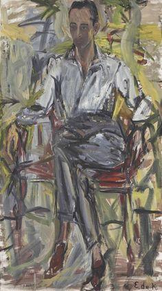 thunderstruck9:  Elaine De Kooning (American, 1919-1989), Leo Castelli, 1954. Oil on canvas, 137.1 x 76.8 cm.