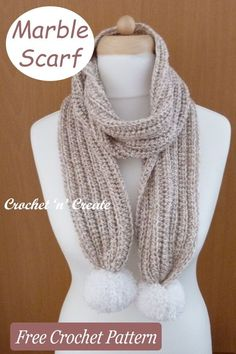 Made with a large hook, this ribbed stitch scarf is beautifully soft and easy to crochet, a free crochet pattern on crochetncreate.