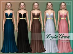 An elegant, strapeless gown with a golden belt design.  Found in TSR Category 'Sims 4 Female Everyday'