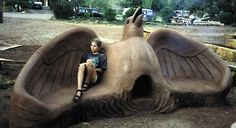 Cob oven and warming bench~ Beautiful wings <3