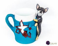 Coffee or tea mug with polymer clay sculpture made by cuteart78
