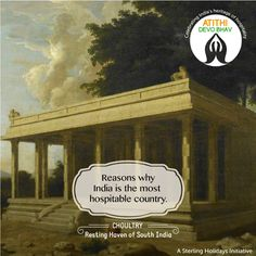 Choultry or tsultry, is a term used to denote a 'resting place' in South of #India. Typically consisting of a hall or a shed, the old #Madras history archives mention a courthouse which was used for #travellers to seek refuge. #AtithiDevoBhav #IndianHospitality #GuestisGod  #hospitality #southindia #india #indiantradition #indianculture #travel #vacation #holidays #sterlingholidays #guestisgod