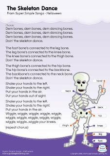 Lyrics poster for The Skeleton Dance Halloween song from Super Simple Learning. #kidssongs #kindergarten #ESL