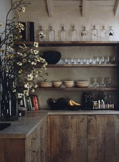 This is my dream kitchen . Wabi sabi rustic kitchen from 'Interiors/Atelier AM' + raw wood cabinets and open shelving Wabi Sabi, Kitchen Interior, Kitchen Decor, Kitchen Shelves, Wooden Kitchen, Reclaimed Kitchen, Wood Shelves, Reclaimed Timber, Floating Shelves