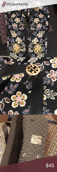 Authentic Tory Burch Flip Flops Authentic Tory Burch New Flip Flops Black/Floral Tory Burch Shoes Sandals