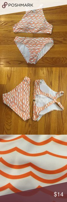 2 piece bikini set Orange and white wave print bikini set; like new condition; lightly padded top; top and bottom both size medium Swim Bikinis