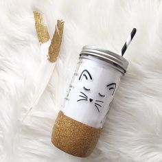 Kitty tumbler mason jar tumbler glitter dipped by YoungMamaBearCo