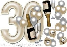 30th Birthday large shaped card front, champagne celebration