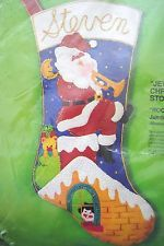 "Bucilla JUMBO 22"" ROOFTOP VISITOR Felt Christmas Stocking Kit RARE #3371 Trumpet Felt Stocking Kit, Christmas Stocking Kits, Felt Christmas Stockings, Felt Ornaments, Trumpet, Holiday Decor, Rooftop, Needle Felted Ornaments, Rooftops"