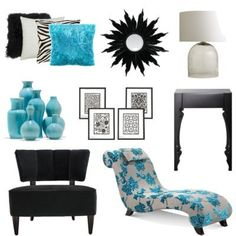 Some Modern Accessories For A Black White And Turquoise Bedroom