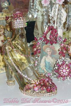 Beautiful High Heel Jeweled Shoe Showpiece Dazzling Pink
