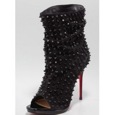 Christian Louboutin Guerilla Studded Open-Toe Red Sole Bootie