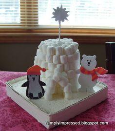 igloo out of mini marshmallows