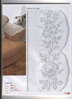 Crochet and arts: Crochet Variety Crochet Patterns Filet, Crochet Borders, Crochet Diagram, Cross Stitch Patterns, Crochet Curtains, Crochet Tablecloth, Crochet Doilies, Fillet Crochet, Crochet Home Decor