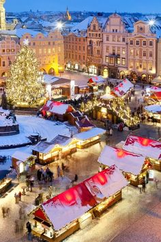 Christmas Market at Old Town Square in Prague, Czechia #winter #night #christmas…