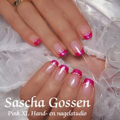 """For a wedding with """"a touch of pink"""" naturel nails with CND Shellac Negligee and a """"French"""" of Tutti Frutti and white dots."""