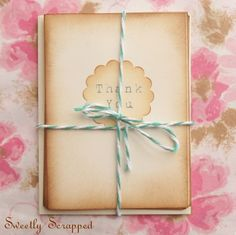Vintage inspired thank you cards (set of 4)