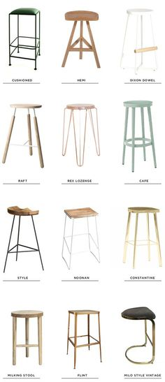 Sometimes a space just calls for backless stools… when you have a pretty bar that you don't want hidden or when you are going for a minimal look with clean sight lines, they can be the answer. I've been searching for some recently and have rounded up a few of my favorites out there right now. CUSHIONED // HEMI …