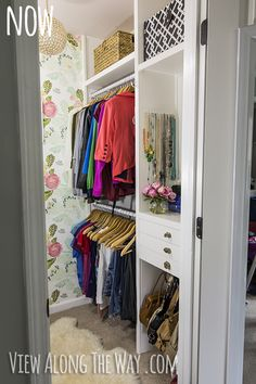 DIY closet makeover on a tiny budget!---Hanging purse area in lower right!  Genius!