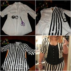 Diy beetlejuice costume for women google search costume ideas the first jacket i taped up was very heavy and the stripes did not match the leggings i bought so re do it solutioingenieria Gallery