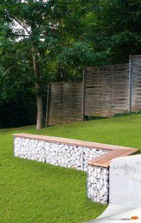 gabion garden bench
