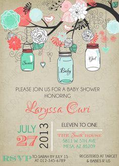 Girls Baby Shower Invitation Mason Jar by SassyGraphicsDesigns