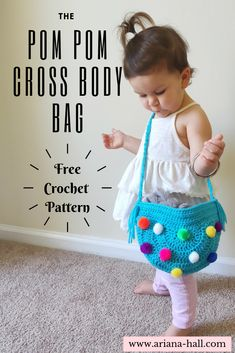 My daughter loves having a purse like mom so the pom-pom cross body bag was created. Use up pom- poms or any appliques you'd like! Purse Patterns Free, Crochet Purse Patterns, Crochet Motifs, Crochet Purses, Baby Patterns, Knitting Patterns Free, Free Pattern, Free Knitting, Crochet Girls