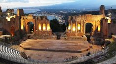 Greek Theatre in Taormina at dusk
